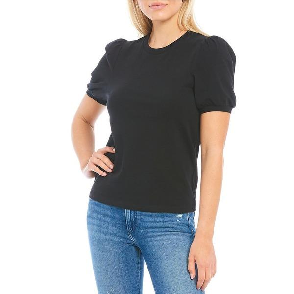Sleeve Black フレンチコネクション Crew Neck Puff Tee トップス Tシャツ Knit Jersey レディース