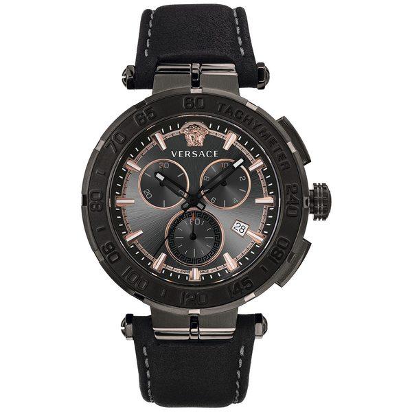春早割 ヴェルサーチ レディース 腕時計 アクセサリー Men's Swiss Chronograph Greca Black Leather Strap Watch 45mm Ip Black, 家具衛門 2d54d7f6