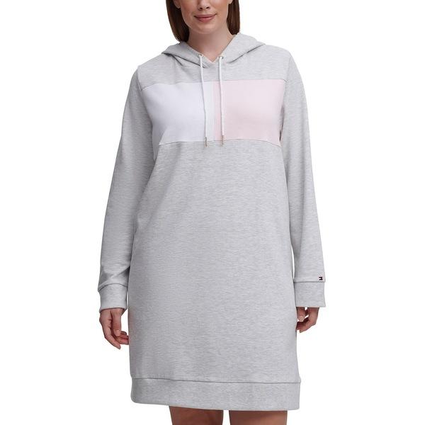 好評受付中 超歓迎された トミー ヒルフィガー レディース トップス ワンピース Pearl Heather Dress Size Plus Hoodie Grey 全商品無料サイズ交換 Colorblocked