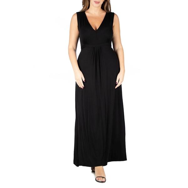 24セブンコンフォート レディース トップス ワンピース Black 正規品 全商品無料サイズ交換 Women's Empire 安い 激安 プチプラ 高品質 Maxi Size Dress Waist Plus