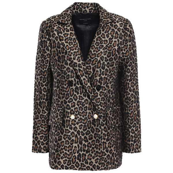 マザーオブパール レディース ジャケット&ブルゾン アウター Francis button-detailed double-breasted leopard-print jacquard blazer Animal print