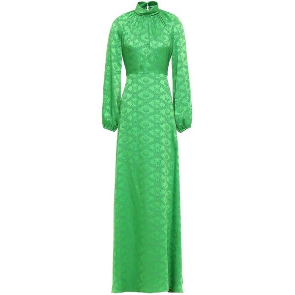 マリーカトランゾー レディース ワンピース トップス Gathered satin-jacquard gown Bright green