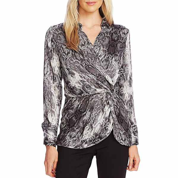 ヴィンスカムート レディース シャツ トップス Long Sleeve Peplum Wrap Front Snakeskin Print Blouse Rich Black