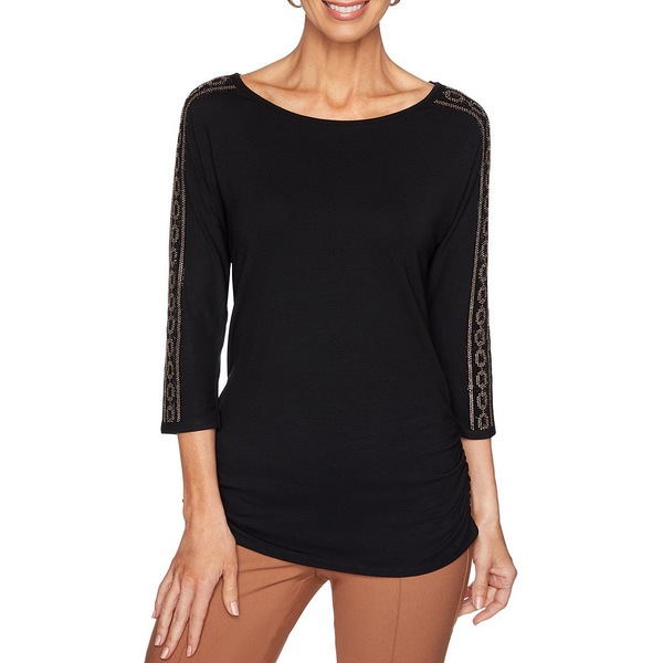 ルビーロード レディース Tシャツ トップス Ballet Neck Embellished-Sleeve Side Ruched Top Black