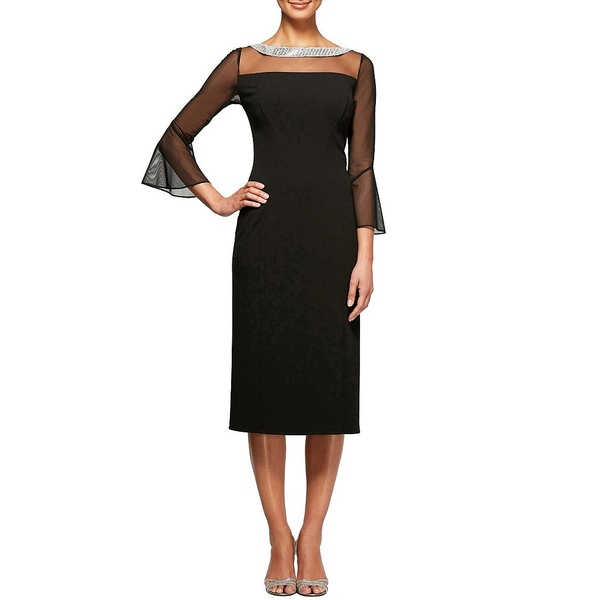 アレックスイブニングス レディース ワンピース トップス Petite Size Illusion Mesh Embellished Boat Neck Bell Sleeve Crepe Sheath Midi Dress Black