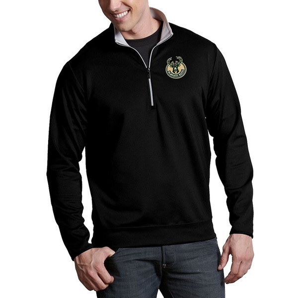 アンティグア メンズ ニット&セーター アウター NBA Leader Quarter-Zip Pullover Milwaukee Bucks Black/Silver