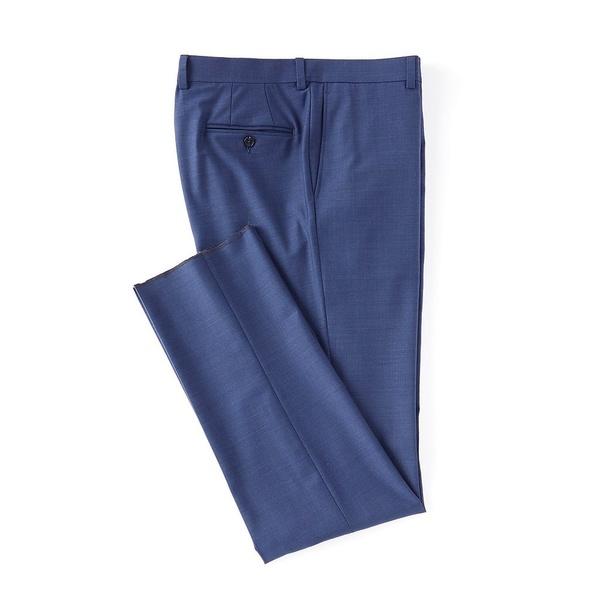 クレミュ メンズ カジュアルパンツ ボトムス Modern Fit Flat Front Solid Dress Pants Blue