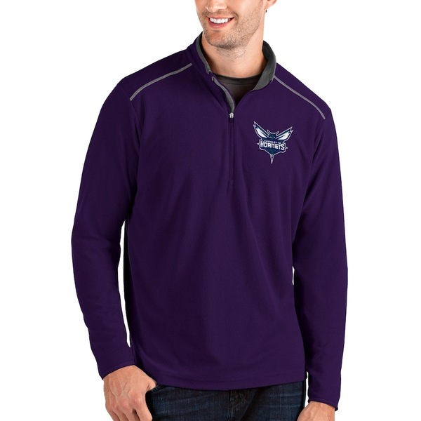 アンティグア メンズ ジャケット&ブルゾン アウター Charlotte Hornets Antigua Glacier Quarter-Zip Pullover Jacket Purple/Gray