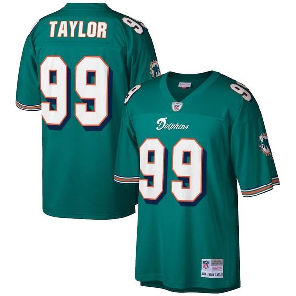 ミッチェル&ネス メンズ シャツ トップス Jason Taylor Miami Dolphins Mitchell & Ness Retired Player Legacy Replica Jersey Aqua