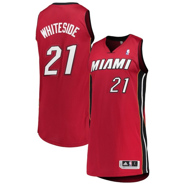 アディダス メンズ シャツ トップス Hassan Whiteside Miami Heat adidas Finished Authentic Jersey Red