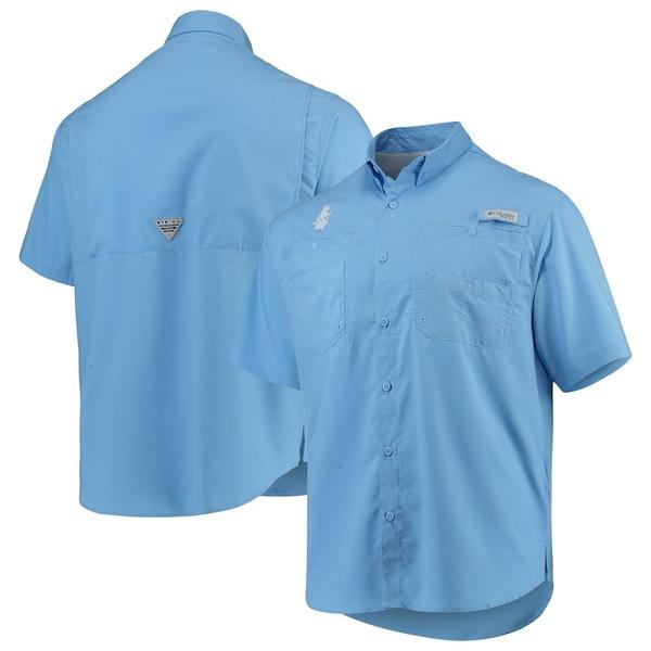 コロンビア メンズ シャツ トップス Chicago Cubs Columbia Cooperstown Collection Tamiami Button-Down Omni-Shade Shirt Light Blue