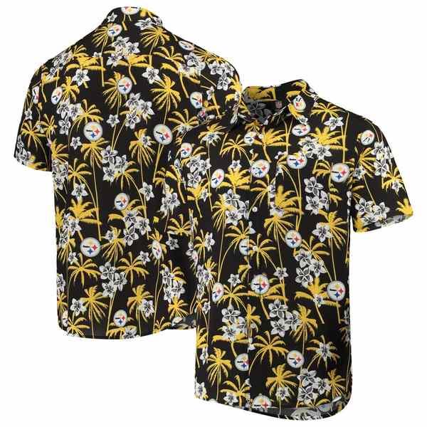 フォコ メンズ シャツ トップス Pittsburgh Steelers Floral Woven Button-Up Shirt Black