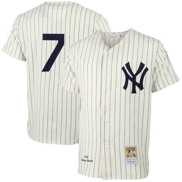 ミッチェル&ネス メンズ シャツ トップス Mickey Mantle New York Yankees Mitchell & Ness MLB Authentic Jersey Cream
