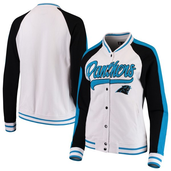 ニューエラ レディース ジャケット&ブルゾン アウター Carolina Panthers New Era Women's Varsity Full Snap Jacket White/Black