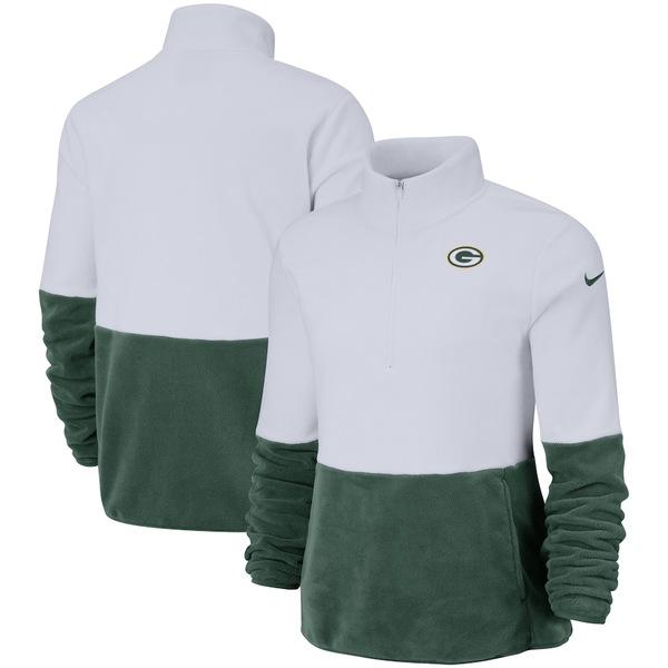 ナイキ レディース ジャケット&ブルゾン アウター Green Bay Packers Nike Women's Performance Fleece Half-Zip Pullover Jacket White/Green