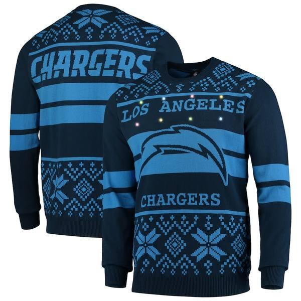 フォコ メンズ シャツ トップス Los Angeles Chargers Light Up Ugly Sweater Navy/Gold