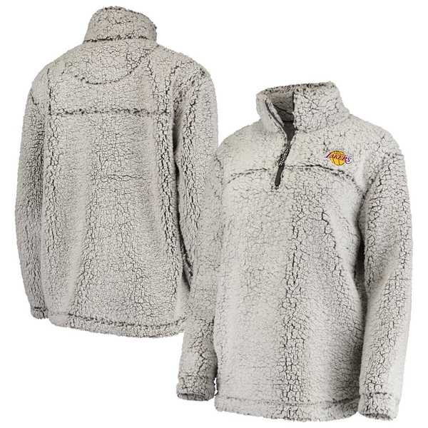 カールバンクス レディース ジャケット&ブルゾン アウター Los Angeles Lakers G-III Sports by Carl Banks Women's Sherpa Quarter-Zip Pullover Jacket Gray