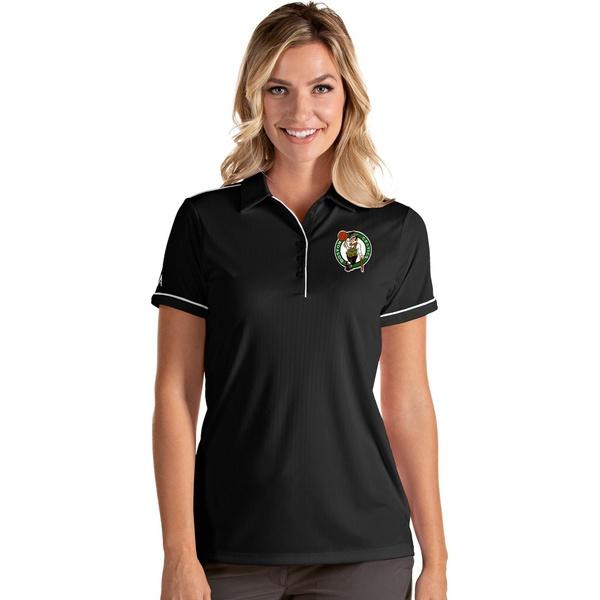 Antigua レディース トップス ポロシャツ Black White 全商品無料サイズ交換 Polo Shirt Boston アンティグア Women's 上等 Salute Celtics 大規模セール