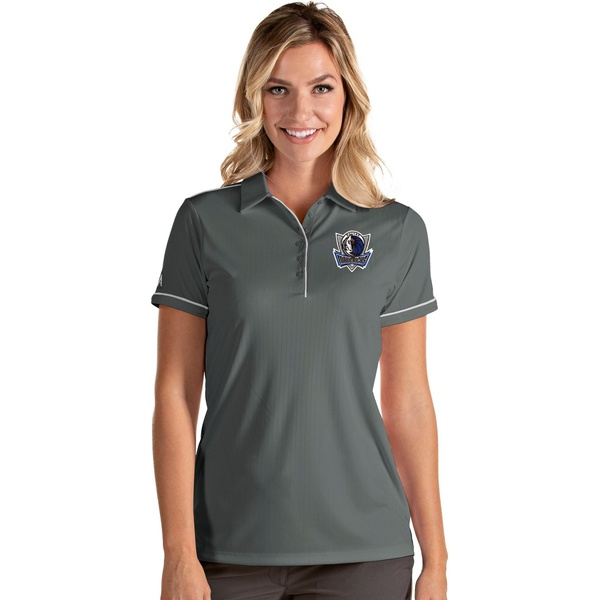 レビューを書けば送料当店負担 Antigua チープ レディース トップス ポロシャツ Gray White 全商品無料サイズ交換 Salute Shirt Women's Dallas Polo アンティグア Mavericks