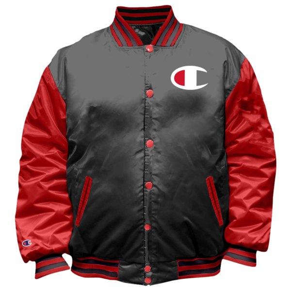 チャンピオン メンズ ジャケット&ブルゾン アウター Varsity Bomber Jacket Black/Red   Big & Tall
