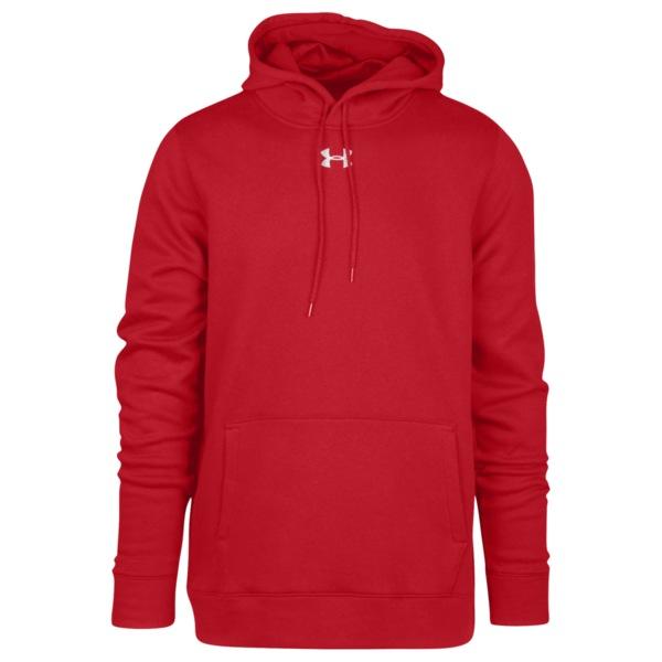 アンダーアーマー メンズ パーカー・スウェットシャツ アウター Team Hustle Fleece Hoodie Red/White
