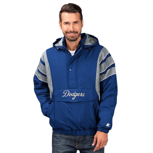 スターター メンズ ジャケット&ブルゾン アウター MLB The Impact 1/2 Zip Hooded Jacket MLB | Los Angeles Dodgers | Royal/White