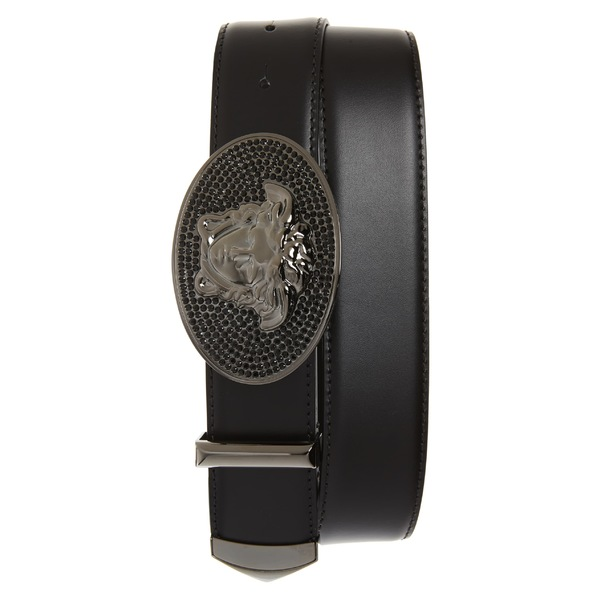 ヴェルサーチ メンズ ベルト アクセサリー Versace Embellished Medusa Buckle Leather Belt Black