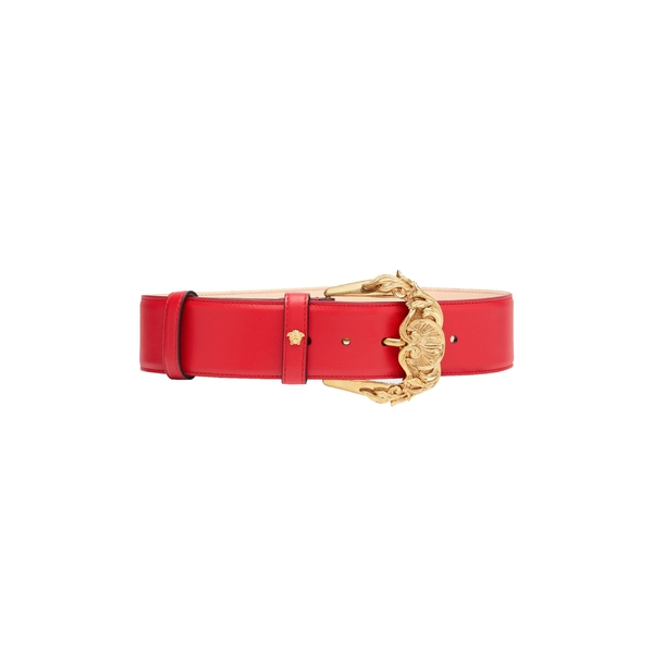 ヴェルサーチ レディース ベルト アクセサリー Versace First Line Baroque Buckle Leather Belt D6tot Rosso/ Gold