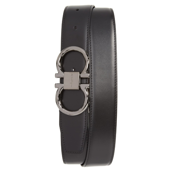 サルヴァトーレ フェラガモ メンズ ベルト アクセサリー Salvatore Ferragamo Gancio Reversible Calfskin Leather Belt Black/ Hickory