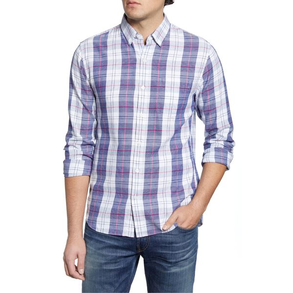 ボノボス メンズ シャツ トップス Bonobos Slim Fit Plaid Button-Up Shirt Nuoro Plaid - Blue Depths