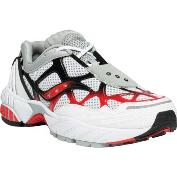 サッカニー メンズ スニーカー シューズ Grid Web Sneaker White/Grey/Red Leather/Mesh
