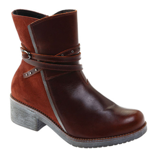 ナオト レディース ブーツ&レインブーツ シューズ Poet Ankle Boot Soft Brown Leather/Rust Suede/Mirror Leather