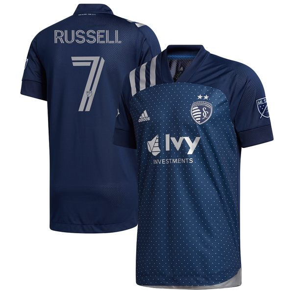 アディダス メンズ ユニフォーム トップス Johnny Russell Sporting Kansas City adidas 2020 Swiss Dots Authentic Jersey Navy