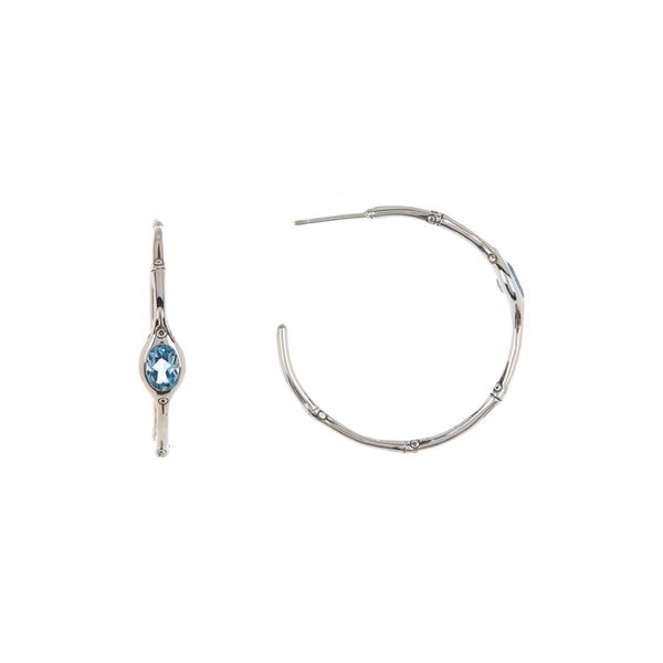 最高の ジョン・ハーディー レディース ピアス&イヤリング アクセサリー Sterling Silver Bamboo Shaped Aquamarine 37mm Hoop Earrings -, 二木ゴルフ 0c5c10f5