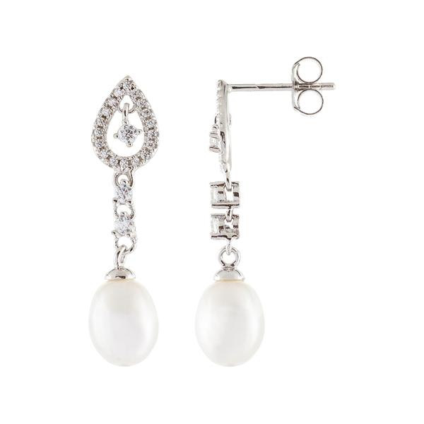 WHITE & ピアス&イヤリング 7-7.5mm Cultured NATURAL レディース Earrings Freshwater CZ アクセサリー Drop スプレンデッドパールズ Pearl