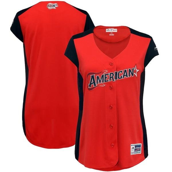 マジェスティック レディース シャツ トップス American League Majestic Women's 2019 MLB All-Star Game Workout Team Jersey Red/Navy