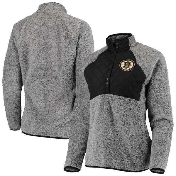 アンティグア レディース ジャケット&ブルゾン アウター Boston Bruins Antigua Women's Surround Sherpa Quarter-Snap Pullover Jacket Black/Heathered Gray