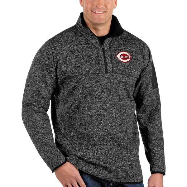 アンティグア メンズ ジャケット&ブルゾン アウター Cincinnati Reds Antigua Fortune Big & Tall Quarter-Zip Pullover Jacket Heather Black