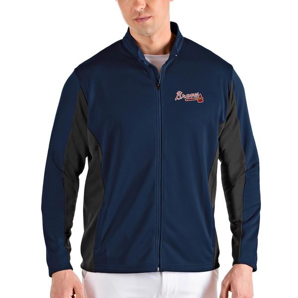 アンティグア メンズ ジャケット&ブルゾン アウター Atlanta Braves Antigua Passage Full-Zip Jacket Navy