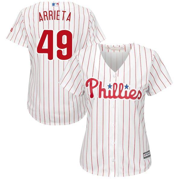 マジェスティック レディース シャツ トップス Jake Arrieta Philadelphia Phillies Majestic Women's Cool Base Player Jersey White