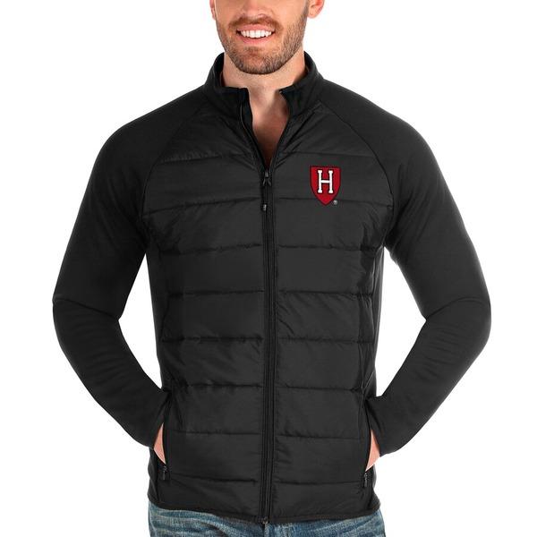 アンティグア メンズ ジャケット&ブルゾン アウター Harvard Crimson Antigua Altitude Full-Zip Jacket Black