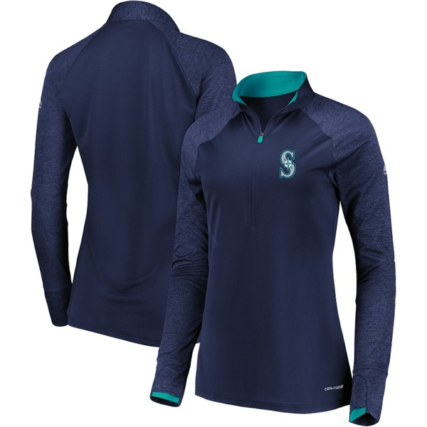 マジェスティック レディース ジャケット&ブルゾン アウター Seattle Mariners Majestic Women's Extremely Clear Cool Base Raglan 1/2-Zip Jacket Navy