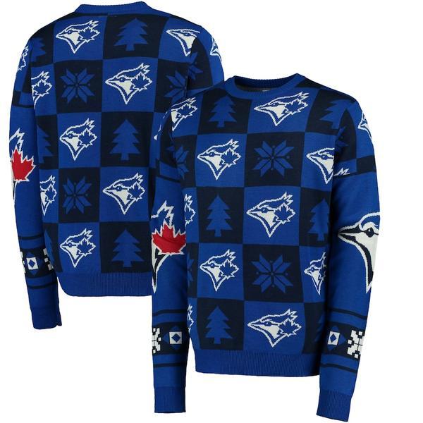 フォコ メンズ シャツ トップス Toronto Blue Jays Patches Ugly Pullover Sweater Royal
