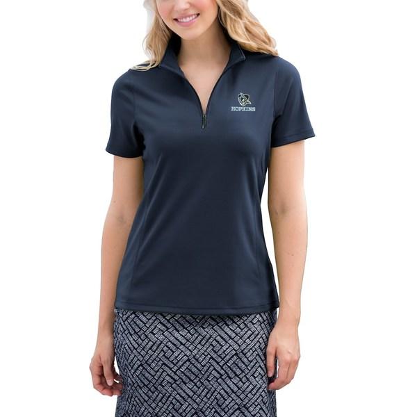 ビンテージアパレル レディース ポロシャツ トップス Johns Hopkins Blue Jays Women's Vansport Micro-Waffle Mesh Polo Navy