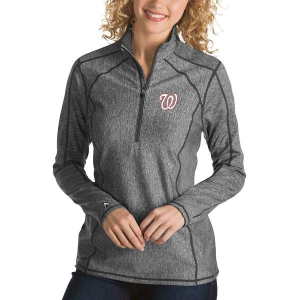 アンティグア レディース ジャケット&ブルゾン アウター Washington Nationals Antigua Women's Tempo Desert Dry 1/4-Zip Pullover Jacket Heathered Charcoal