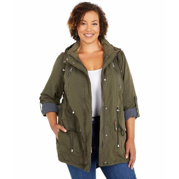 リーバイス レディース コート アウター Plus Size Parachute Cotton Utility Fishtail Parka Jacket Olive