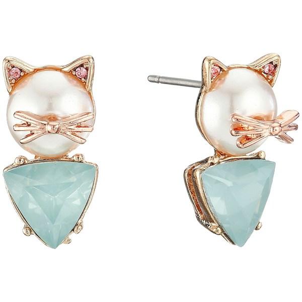 ベッツィジョンソン レディース ピアス&イヤリング アクセサリー Pearl Critters Cat Stud Earrings Pearl