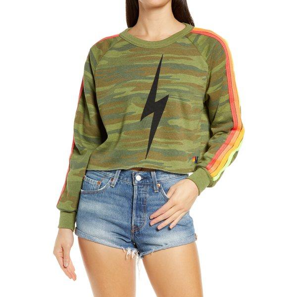 アビエーターネーション レディース アウター パーカー・スウェットシャツ Camoneon 全商品無料サイズ交換 アビエーターネーション レディース パーカー・スウェットシャツ アウター Bolt Crop Sweatshirt Camoneon