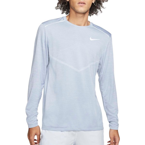 ナイキ メンズ シャツ トップス Nike Men's TechKnit Ultra Running Long Sleeve Shirt IndigoFog/ReflctvSilver