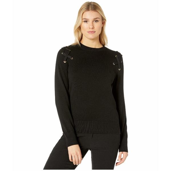 マイケルコース レディース ニット&セーター アウター X- Detail Long Sleeve Crew Sweater Black